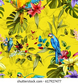 Seamless background pattern. Parrots, humming bird, lily, tropical leaves and branches. Watercolor, hand drawn. Vector - stock.