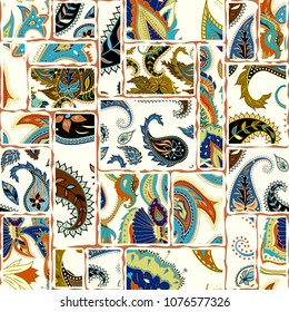 Seamless background pattern. Patchwork pattern with Paisley ornament patterns. Ethnic indian style.
