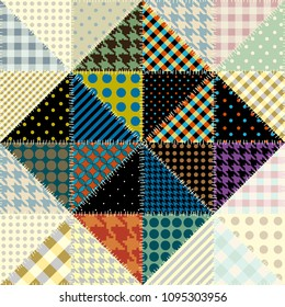 Seamless background pattern. Patchwork pattern of triangles. Vector image.