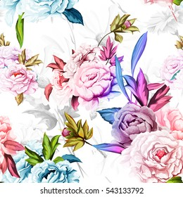 Seamless background pattern of peony on white background with cornflowers and chamomiles. Watercolor, hand drawn. Vector - stock.