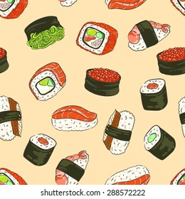 Seamless background with a pattern of Philadelphia roll with caviar, crab, avocado, cucumber and salmon, sushi with hiyashi wakame, sushi with eel, with red caviar, with a shrimp, roll California.