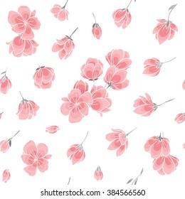 Seamless background pattern - pink Sakura blossom - Japanese flowering cherry - symbol of spring