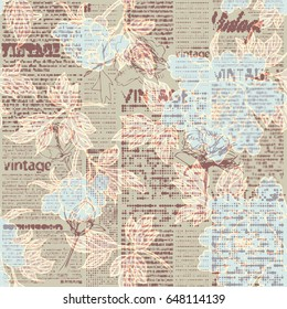 Seamless background pattern. Retro grunge pattern with a Vintage words and sketches of flowers. Halftone newspaper.