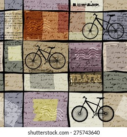 Seamless background pattern. Retro travel pattern with inscriptions and bikes