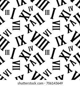 Seamless background pattern with Roman numerals on a white. Vector Illustration