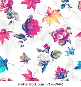 Seamless background pattern. Roses with autumn leaves. Vintage style. Hand drawn artwork. Vector - stock.