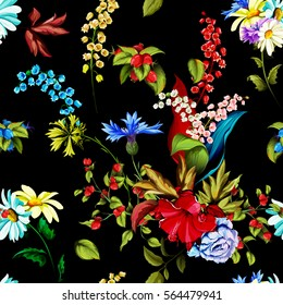 Seamless background pattern of roses, peony, chinese rose, cornflowers and lily of the valley and wild rose (dog-rose), camomile with leaves on black. Watercolor, hand drawn. Vector - stock