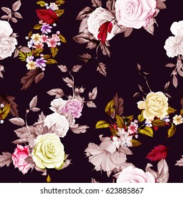 Seamless background pattern. Roses, peony, wild flowers on dark. Watercolor, hand drawn. Vector - stock.
