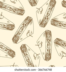 Seamless background with a pattern of sandwich