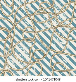 Seamless background pattern. Sea rope on grunge strikes background. Vector image.
