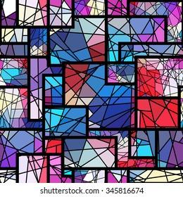 Seamless background pattern. Stained mosaic geometric pattern.