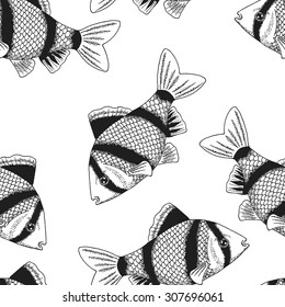 Seamless background with a pattern of the tiger barb. Graphic art. Hand drawn