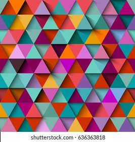 Seamless background pattern with triangles and shadows, eps10 vector