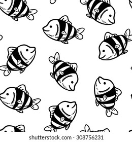 Seamless background with a pattern of a tropical fish