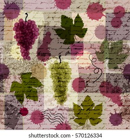 Seamless background pattern. Vintage pattern with leaves and bunches of grapes