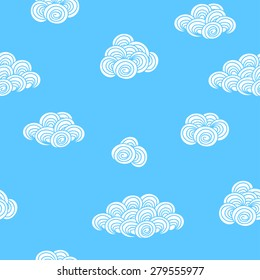 Seamless background pattern with white clouds in blue sky. Vector illustration eps 10