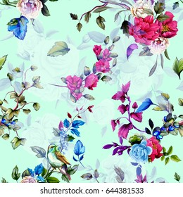 Seamless background pattern. Wild flowers, peony, roses, nightingale and pomegranate buds with branch and leaves on pastel. Watercolor, hand drawn.