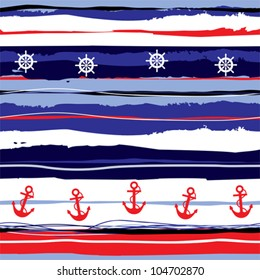 Seamless background pattern. Will tile endlessly. Striped pattern in sea style.