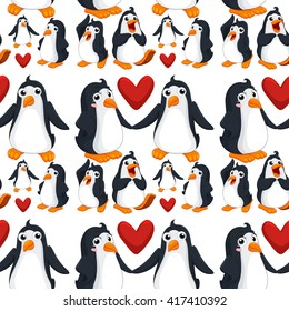 Seamless background  with penguins in love illustration