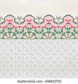 Seamless background with peonies border. Geometric ornament. and watercolor on backdrop. Vector illustration imitates traditional Chinese ink painting.