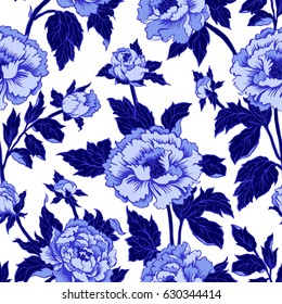 Seamless background with peony flowers. Vector illustration imitates traditional Chinese ink painting. Indigo color.
