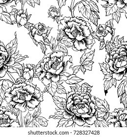Seamless background with peony flowers. Vector illustration imitates traditional Chinese ink painting. Graphic hand drawn floral pattern. Textile fabric design.