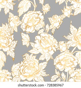 Seamless background with peony flowers. Vector illustration imitates traditional Chinese ink painting. Graphic hand drawn floral pattern. Textile fabric design. Home decor.