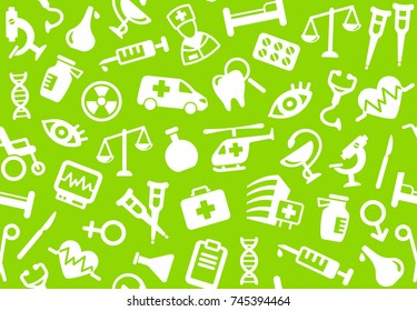 Seamless background of pharmacology and medicine. Vector illustration