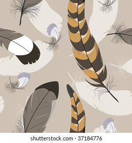 seamless background with pheasant's feathers