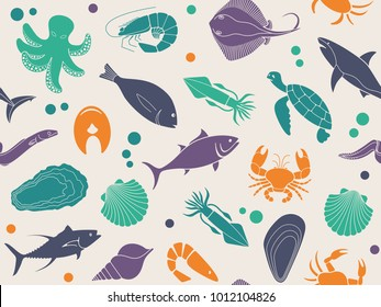 Seamless background with pictures of fish and seafood