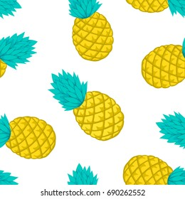 Seamless background with pineapple on white. design for holiday greeting card and invitation of seasonal summer holidays, summer beach parties, tourism and travel.