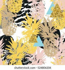 Seamless background with pineapples and abstract elements