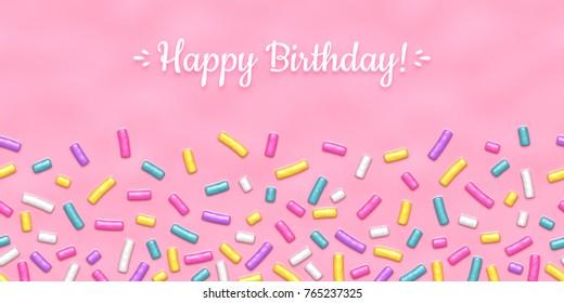 Seamless background of pink candy donut glaze with many decorative sprinkles.