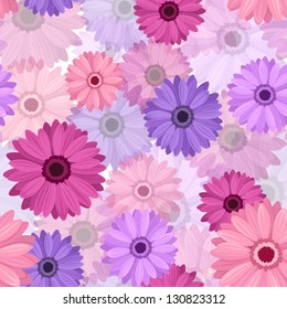 Seamless background with pink and purple gerbera. Vector EPS-10.