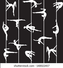 Seamless background with pole dancer silhouette
