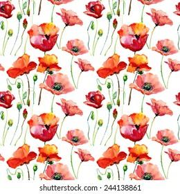 Seamless background: poppy