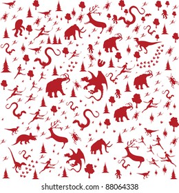 seamless background with Prehistoric Era, animals in red color