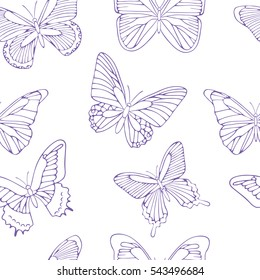 Seamless background with purple butterflies. Hand drawn pattern.Vector. Outline drawing. Pattern for paper products or fabrics.