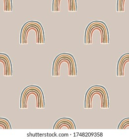 Seamless background rainbow gender neutral baby pattern. Simple whimsical minimal earthy 2 tone color. Kids nursery wallpaper or boho fashion all over print.