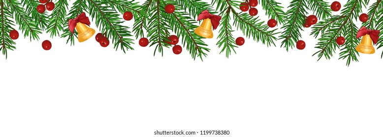 Seamless Background with realistic green fir tree branch, bell and christmas berries. Place for text, congratulation. Christmas, New Year symbol.