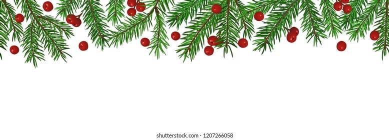 Seamless Background with realistic green fir tree branch and christmas berries. Place for text, congratulation. Christmas, New Year symbol.