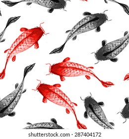 Seamless background with red and black koi carps hand drawn with ink in traditional Japanese painting style sumi-e.