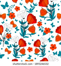 A seamless background with red and blue flowers and leaves. Print with poppies and butterflies. Vector illustration