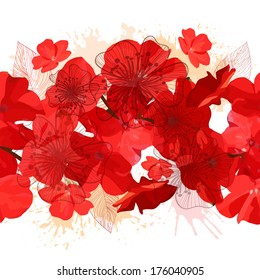 seamless background of red flowers. Vector