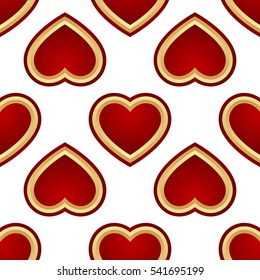 Seamless Background of red and gold hearts isolated on white background. Vector illustration