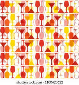 Seamless background with red, pink and orange wine glasses. Bright colors pattern for web, poster, textile, print and other design