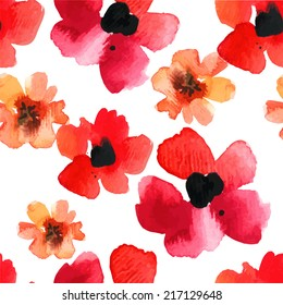 Seamless background with red poppies watercolor on white . Floral ornament with wild flowers.