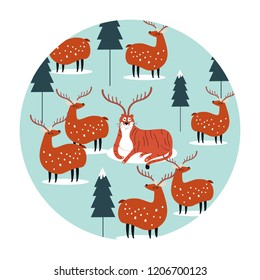 Seamless background with reindeers and tiger vector