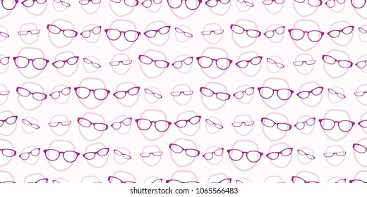 seamless background repeat pattern of female heads wearing glasses