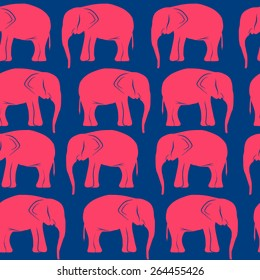 seamless background with retro pink elephants